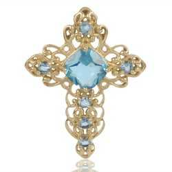 Sky Blue Gemstone Gold Plated Fashion Designer Cross Pendant
