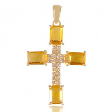 Yellow Gemstone and White Cubic Zirconia Gold Plated Fashion Designer Cross Pendant