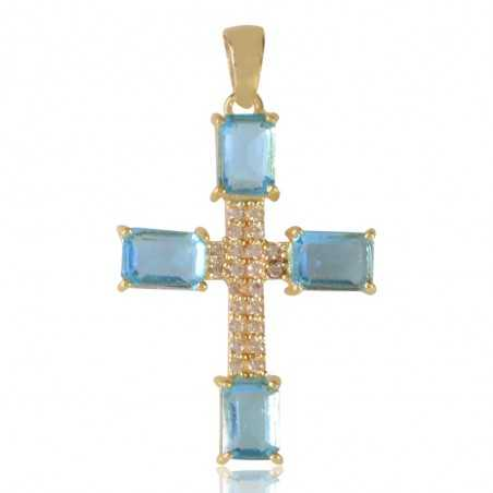 Cross Pendant with Sky Blue Gemstone and White Cubic Zirconia