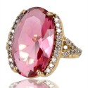 Pink Gemstone and White Cubic Zirconia Gold Plated Fashion Designer Ring