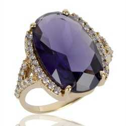 Purple Gemstone and White Cubic Zirconia Gold Plated Fashion Designer Ring