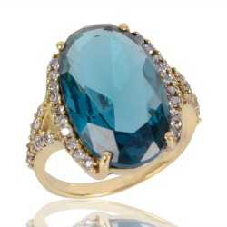 London Topaz Gemstone and White Cubic Zirconia Gold Plated Fashion Designer Ring