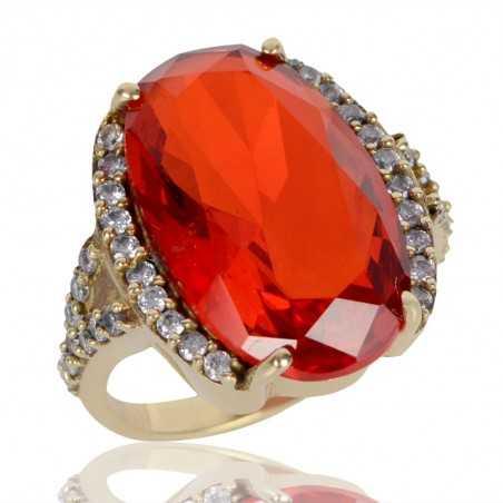Orange Gemstone and White Cubic Zirconia Gold Plated Fashion Designer Ring