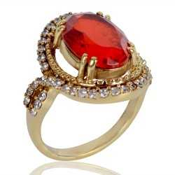 Orange Gemstone and White Cubic Zirconia Gold Plated Fashion Ring