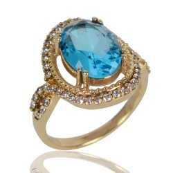 Sky Blue Gemstone and White Cubic Zirconia Gold Plated Fashion Ring