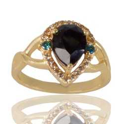 Black Gemstone Sky Blue Galss and White Cubic Zirconia Gold Plated Fashion Ring