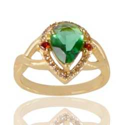 Light Green Gemstone Red Gemstone and White Cubic Zirconia Gold Plated Fashion Ring