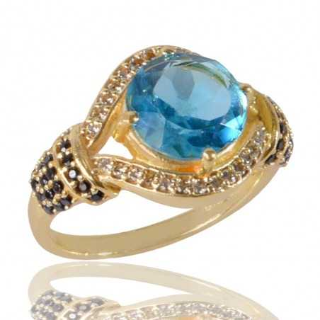 Sky Blue Gemstone Black Spinal Gemstone And White Cubic Zirconia Gold Plated Brass Ring