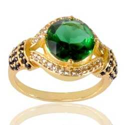 Light Green Gemstone Black Spinal Gemstone And White Cubic Zirconia Gold Plated Brass Ring