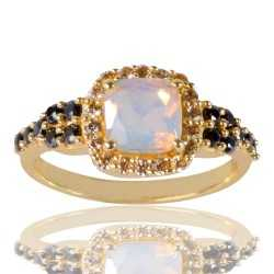 White Opal Gemstone Black Spinal Gemstone And White Cubic Zirconia Gold Plated Brass Ring