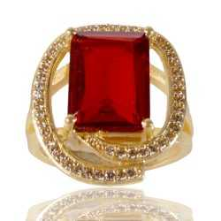 Red Gemstone and White Cubic Zirconia Gold Plated Designer Ring