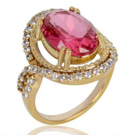 Pink Gemstone and White Cubic Zirconia Gold Plated Fashion Ring