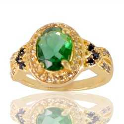 Light Green Gemstone Black Spinal Stone and White Cubic Zirconia Gold Plated Designer Ring