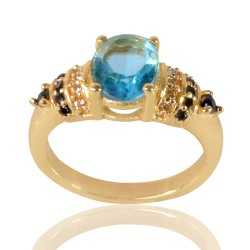Sky Blue Gemstone Black Spinal Stone and White Cubic Zirconia Gold Plated Designer Ring