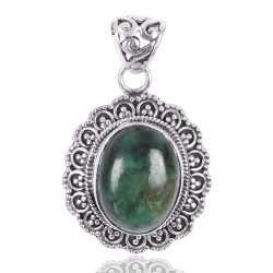 Natural Tibetan Turquoise Gemstone 925 Sterling silver cluster pendant