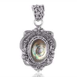 Abalone Shell Gemstone 925 Sterling Silver Locket Pendant