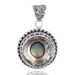 Natural Abalone Shell Gemstone 925 Sterling Silver Pendant