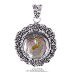 Natural Abalone Shell Gemstone 925 Sterling Silver Locket Pendant