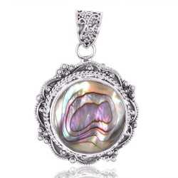 Abalone Shell Gemstone 925 Sterling Silver Statement Pendant