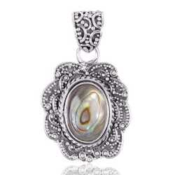 Abalone Shell Oval Shape Gemstone 925 Sterling Silver Statement Pendant