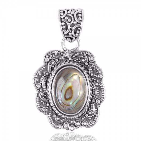 Abalone Shell Oval Shape Gemstone 925 Sterling Silver Statement Pendant