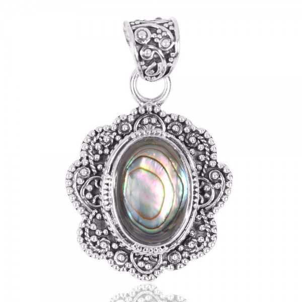 Oval Abalone Shell & Silver Pendant rvq7WfVgGK