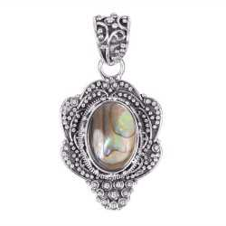 Natural Abalone Shell Oxidised 925 Solid Silver Pendant