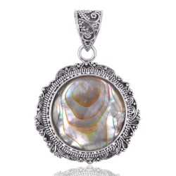 Gorgeous Abalone Shell 925 Solid Silver Pendant