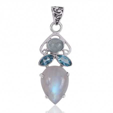 Natural Rainbow Moonstone Aquamarine And Swiss Blue Topaz Gemstone 925 Sterling Silver Pendant