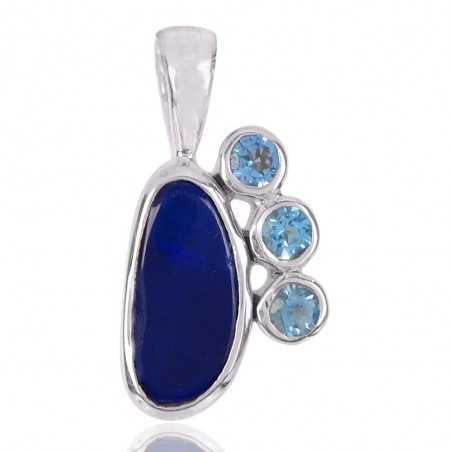 Doublet Opal And Swiss Blue Topaz Gemstone 925 Sterling Silver Pendant