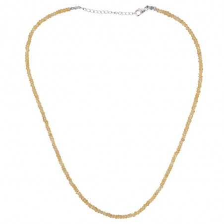 Citrine Beads Gemstone 925 Sterling Silver Necklace
