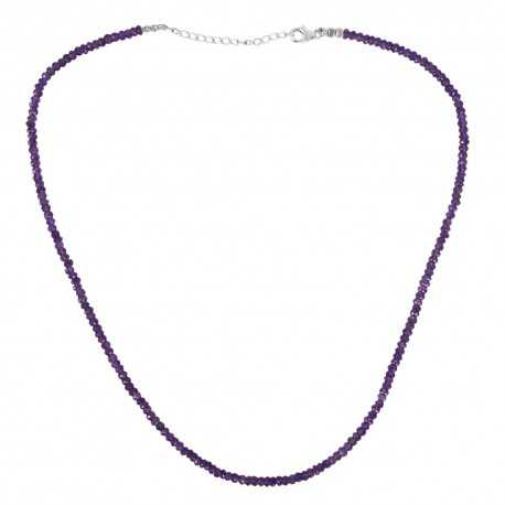 Amethyst Gemstone 925 Sterling Silver Beads Necklace