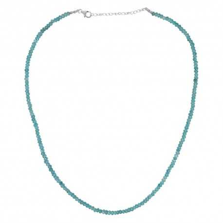 Apatite Beads 925 Sterling Silver Roundable Necklace