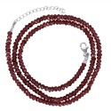 Rhodolite Garnet Beads 925 Sterling Silver Roundable Necklace