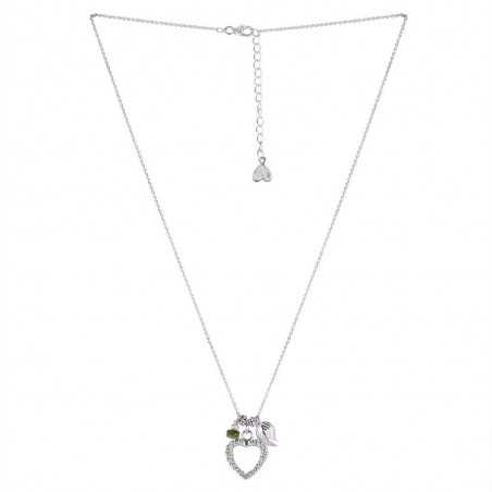 Love Heart Display with Tourmaline Gemstone 925 Sterling Silver Necklaces