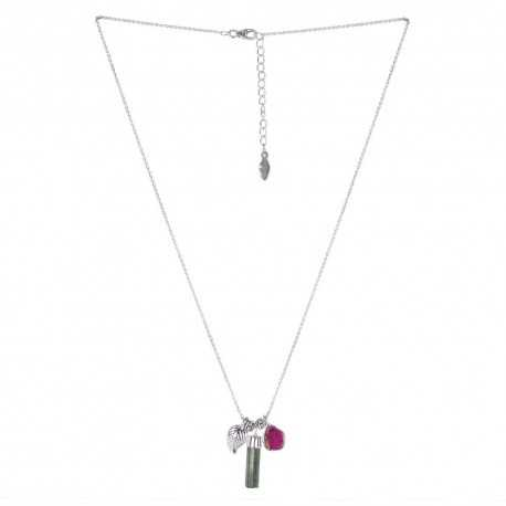 Natural Tourmaline Pencil Gemstone 925 Sterling Silver Necklaces