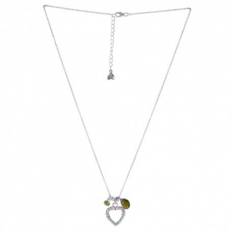 Tourmaline Beads With Love Heart 925 Sterling Silver Cluster Necklaces