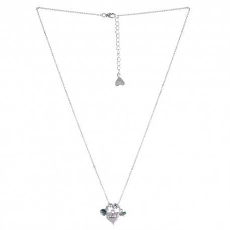 "Sterling Silver ""Love"" Open Heart With Tourmaline Beads Silver Necklace, 18"""