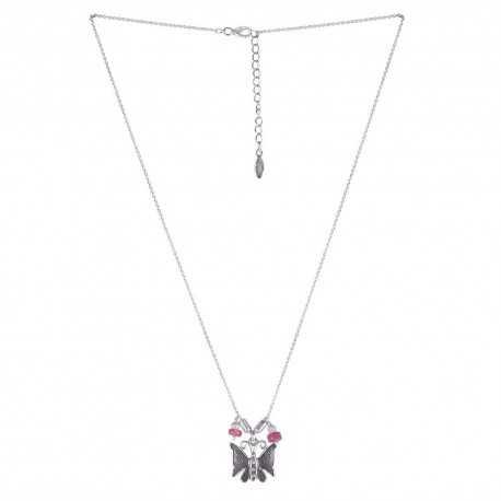 Statement WaterMelon Tourmaline Butterfly 925 Sterling Silver Necklace