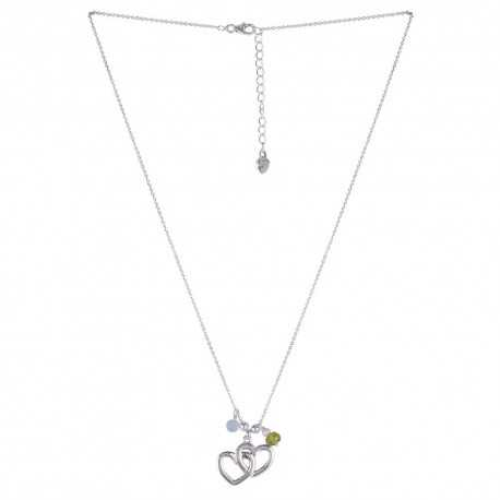 Love Heart With Aquamarine Peridot Beads 925 Sterling Silver Necklace