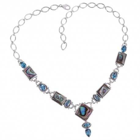 Abalone Shell And Swiss Blue Topaz Gemstone 925 Sterling Silver Necklace