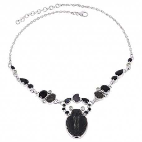Natural Black Onyx And Multigemstone 925 Sterling Silver Cluster Necklace