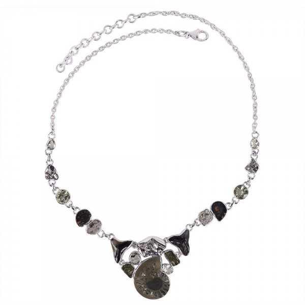 Green Amethyst Pyarite Ammonite And Multigemstone 925 Sterling Silver Necklace