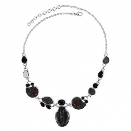 Hematite Ammonite Black Onyx And Tektite Gemstone 925 Sterling Silver Necklace