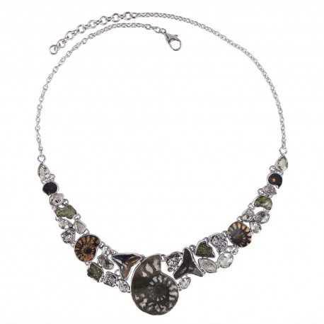 Crystal Moldavite And Multigemstone 925 Sterling Silver Necklace