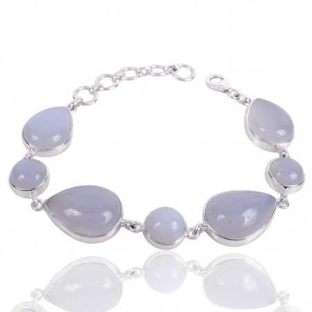 Chalcedony Gemstone 925 Sterling Silver Bracelet