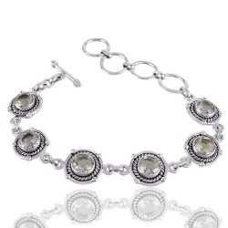 Green Amethyst Gemstone 925 Sterling Silver Cluster Bracelet