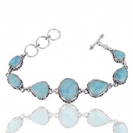 Natural Larimar Gemstone 925 Sterling Silver Cluster Bracelet