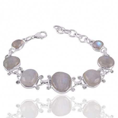 Natural Rainbow Moonstone Gemstone 925 Sterling Silver Cluster Bracelet