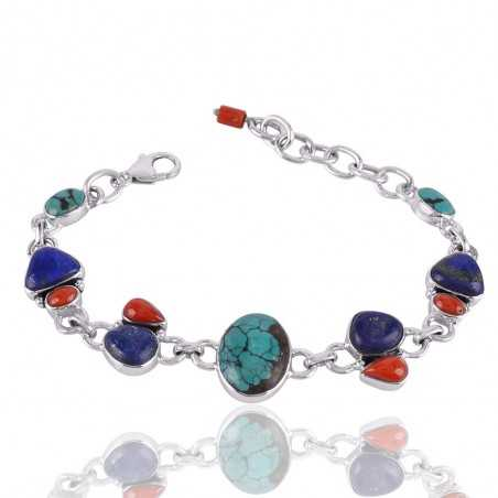 Tibetan Turquoise Lapis And Coral Gemstone 925 Sterling Silver Bracelet